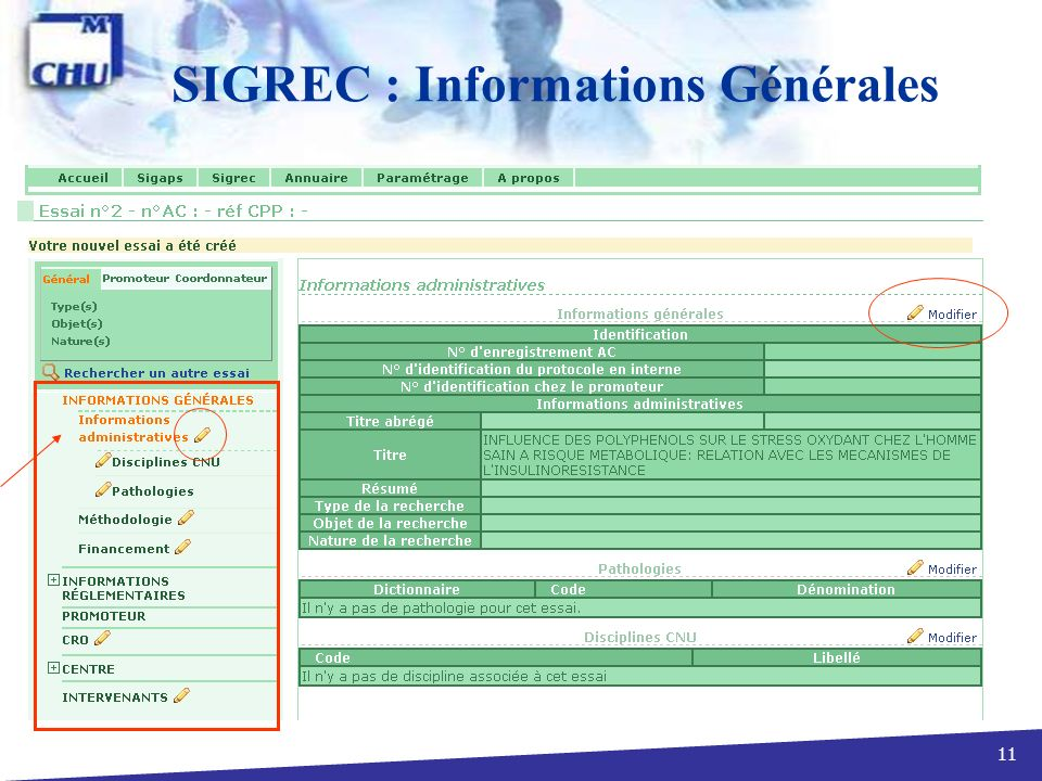 SIGREC : Informations Générales
