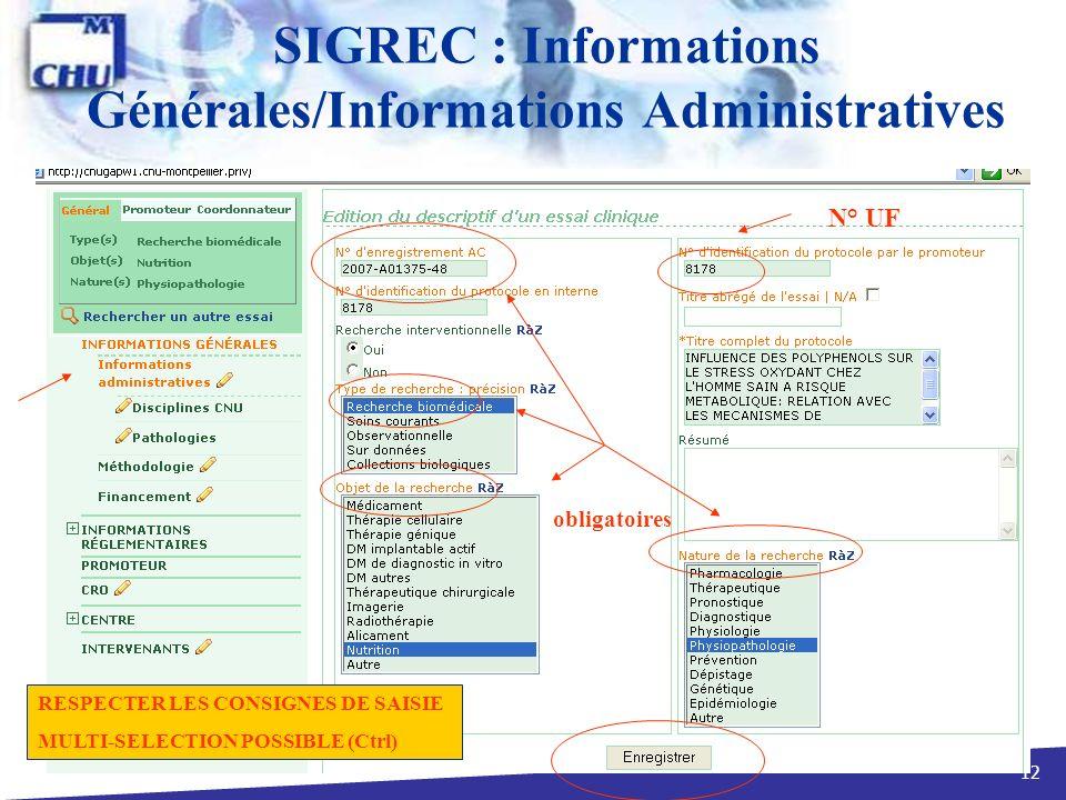 SIGREC : Informations Générales/Informations Administratives