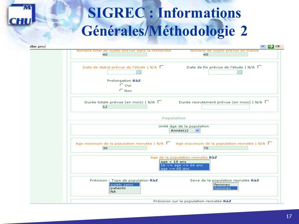 SIGREC : Informations Générales/Méthodologie 2