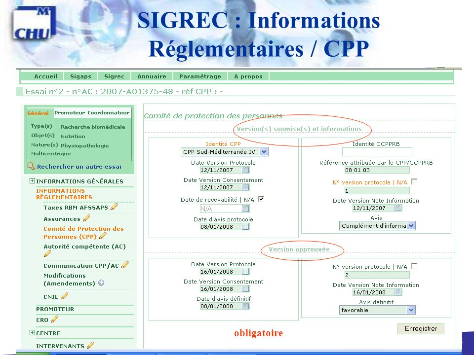 SIGREC : Informations Réglementaires / CPP