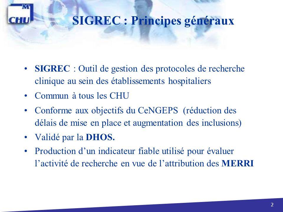 SIGREC : Principes généraux