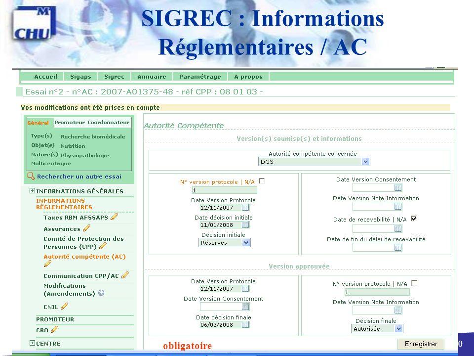 SIGREC : Informations Réglementaires / AC