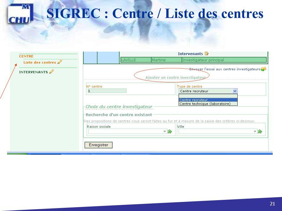 SIGREC : Centre / Liste des centres