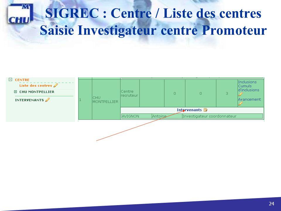 SIGREC : Centre / Liste des centres Saisie Investigateur centre Promoteur