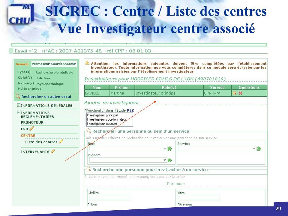 SIGREC : Centre / Liste des centres Vue Investigateur centre associé
