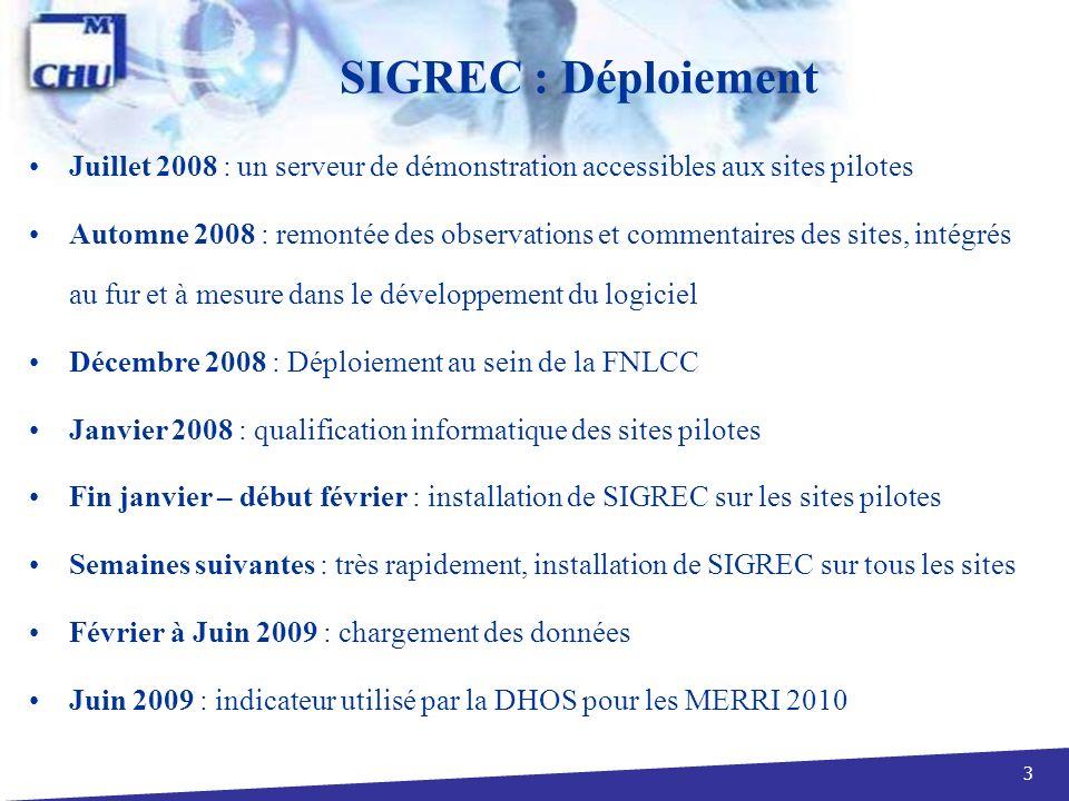 SIGREC : Déploiement Juillet 2008 : un serveur de démonstration accessibles aux sites pilotes.