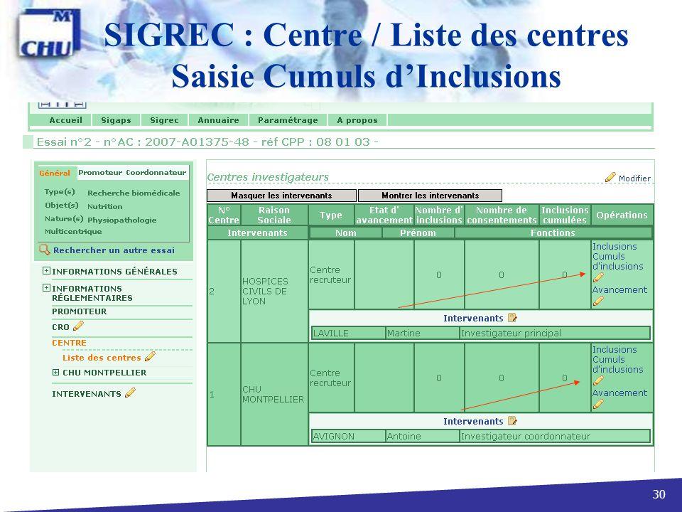 SIGREC : Centre / Liste des centres Saisie Cumuls d'Inclusions