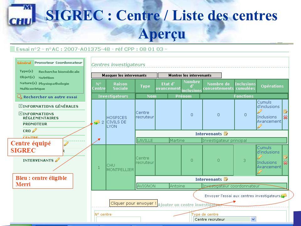 SIGREC : Centre / Liste des centres Aperçu