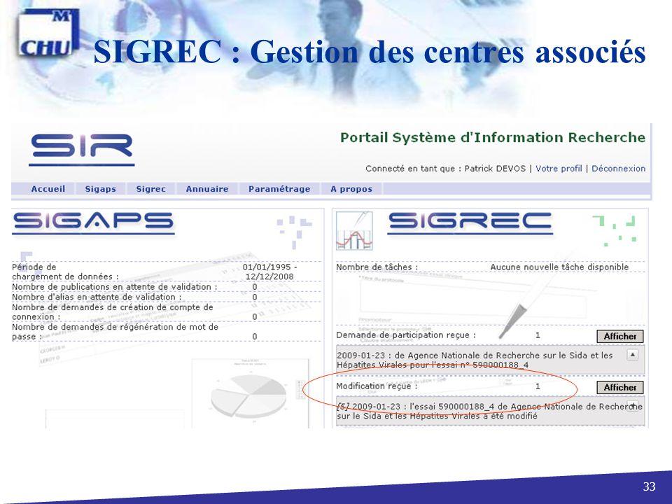 SIGREC : Gestion des centres associés