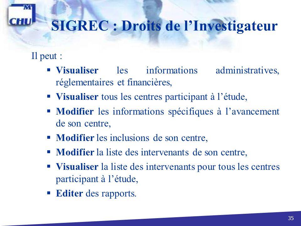 SIGREC : Droits de l'Investigateur