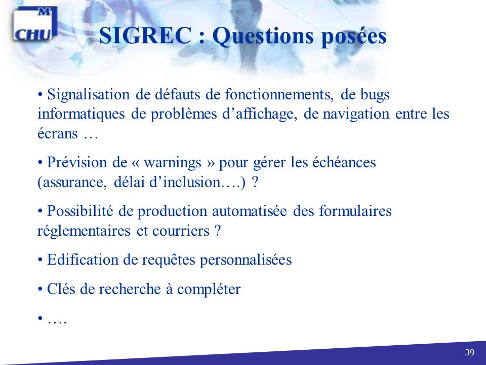 SIGREC : Questions posées