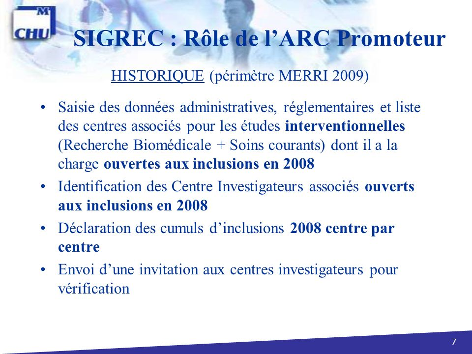 SIGREC : Rôle de l'ARC Promoteur