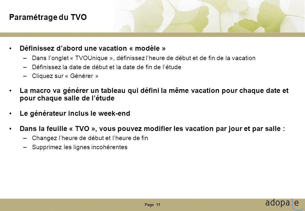 Paramétrage du TVO Définissez d'abord une vacation « modèle »