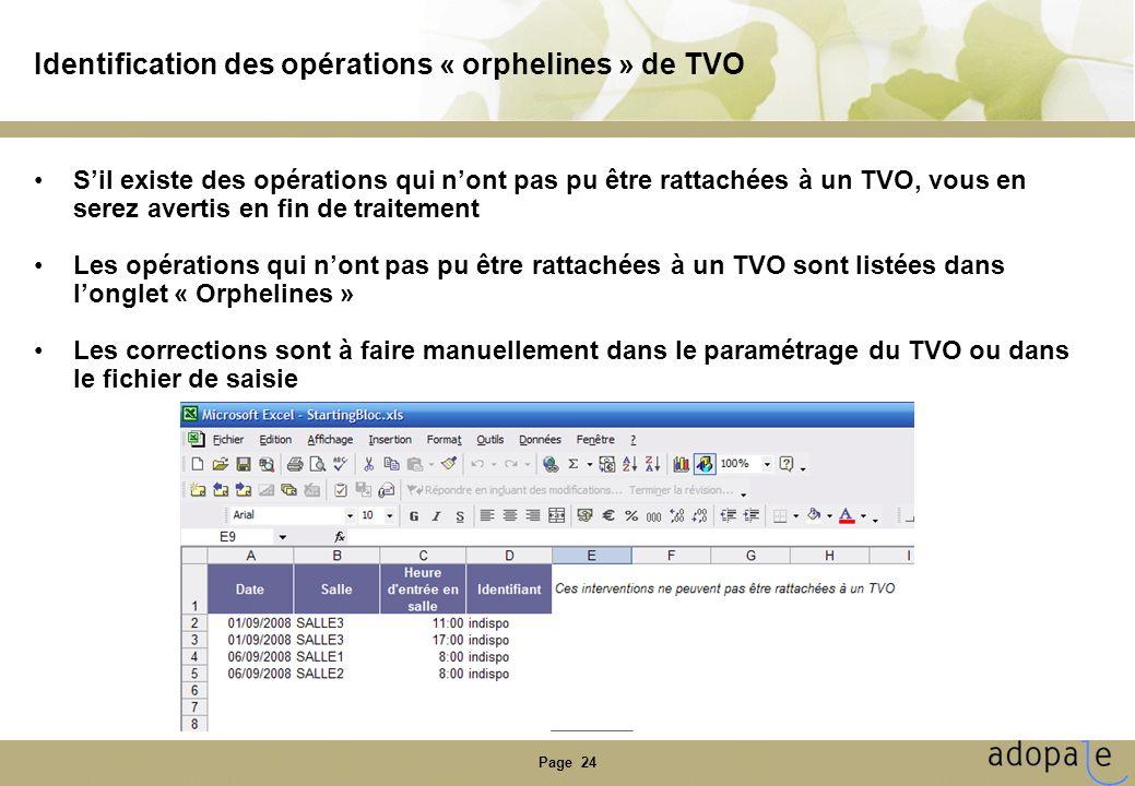 Identification des opérations « orphelines » de TVO