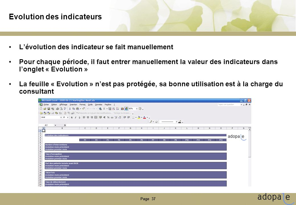 Evolution des indicateurs