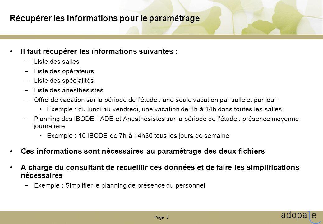 Récupérer les informations pour le paramétrage