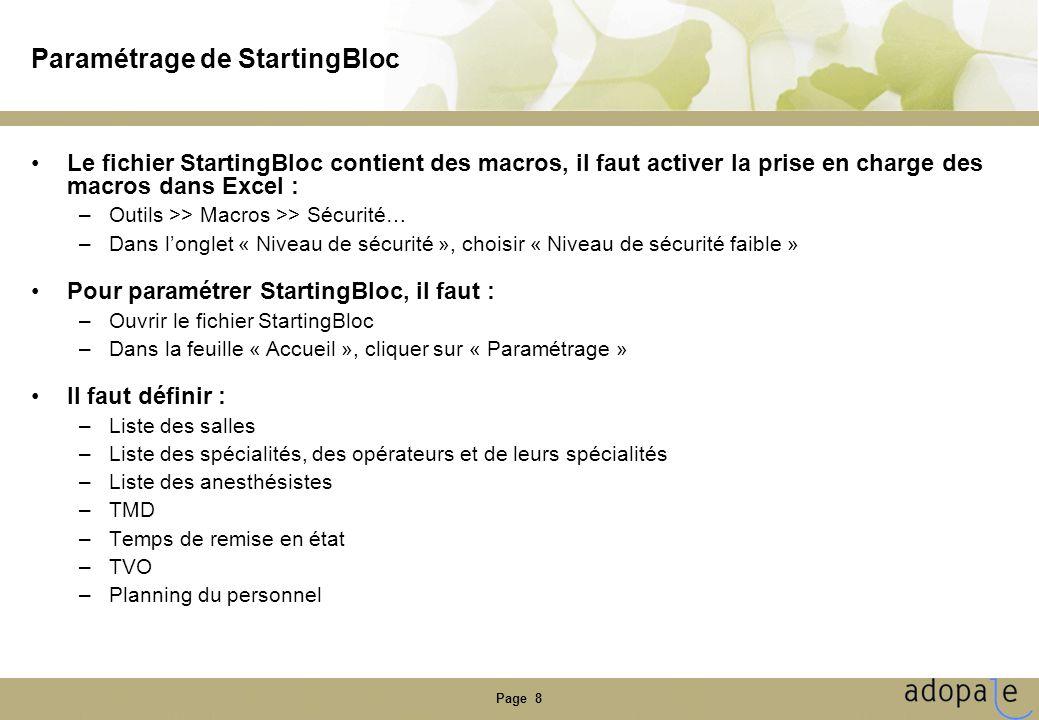 Paramétrage de StartingBloc