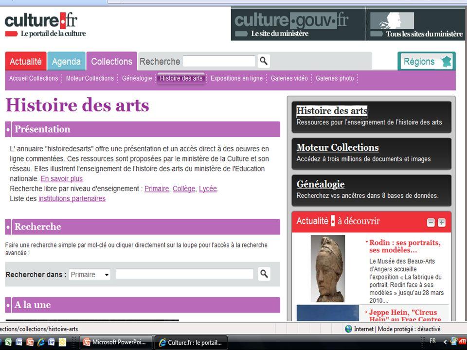 Il s'agit de présenter aux collègues des portails de ressources en ligne pour l'enseignement de l'HIDA : le site national HISTOIRE DES ARTS + les sites académiques dont le nôtre qui va ouvrir incessamment