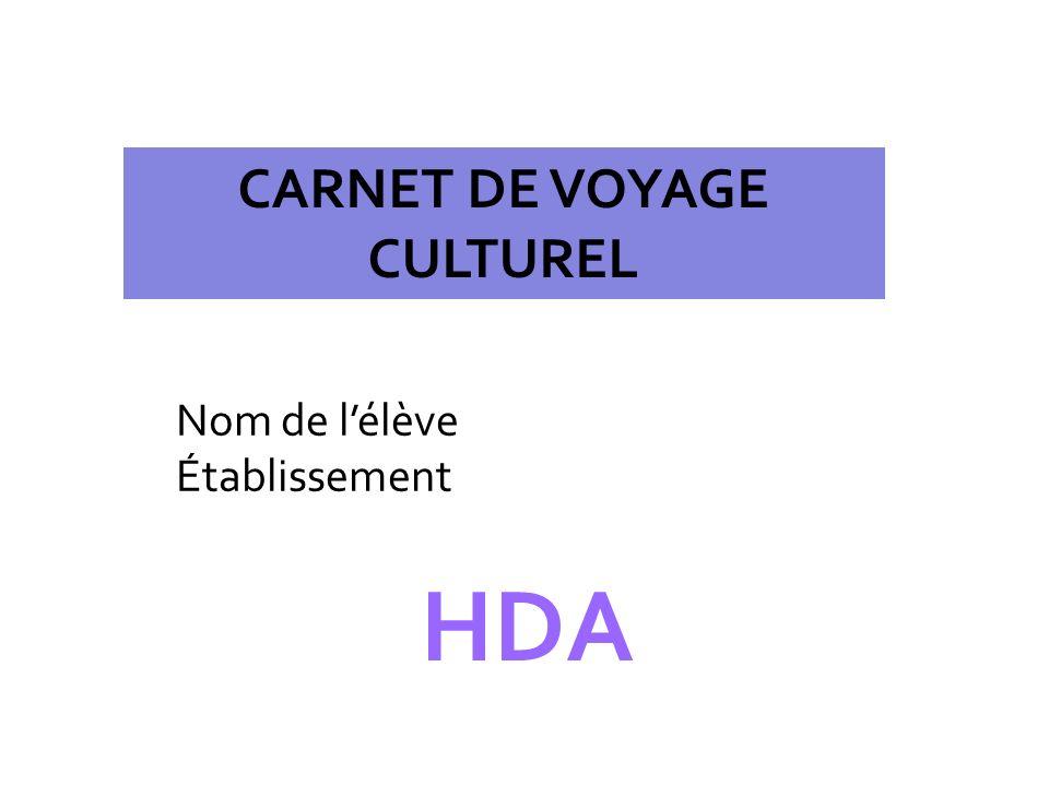 CARNET DE VOYAGE CULTUREL