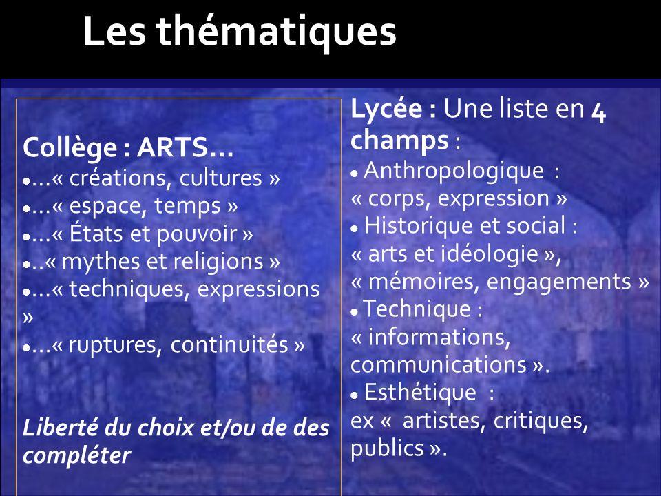 Les thématiques Lycée : Une liste en 4 champs : Collège : ARTS…