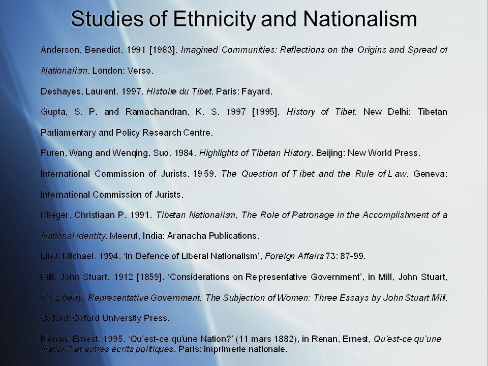 Studies of Ethnicity and Nationalism