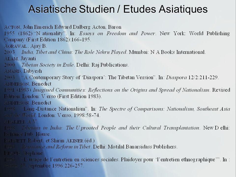 Asiatische Studien / Etudes Asiatiques