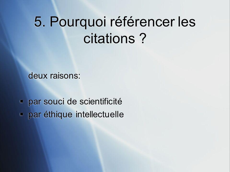 5. Pourquoi référencer les citations