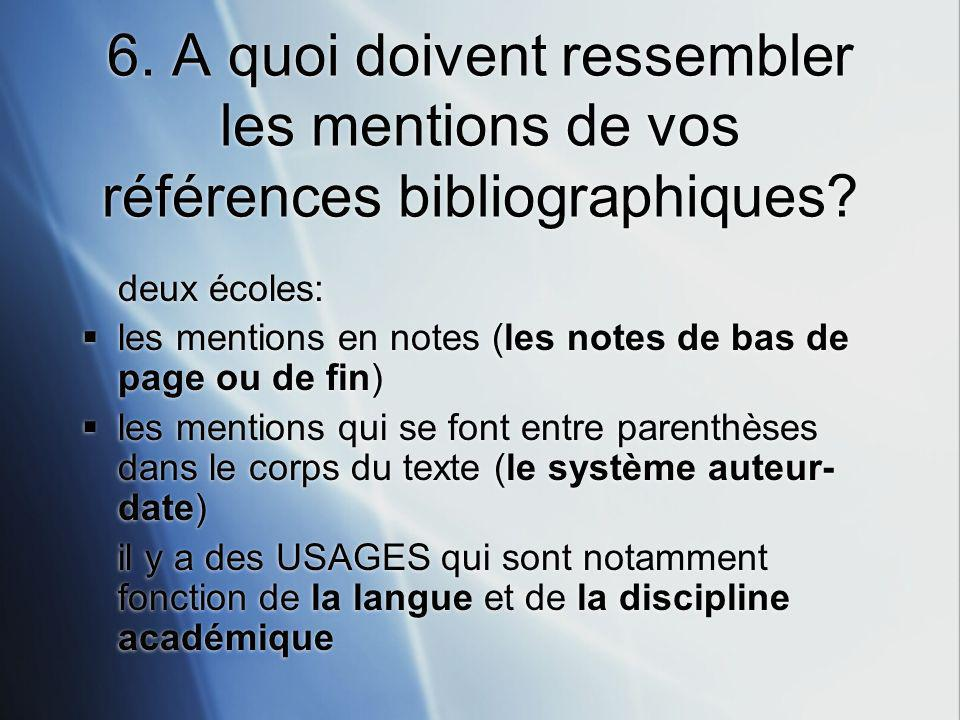 6. A quoi doivent ressembler les mentions de vos références bibliographiques