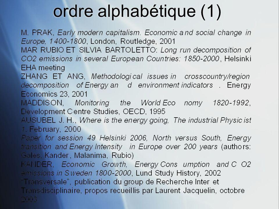 ordre alphabétique (1)