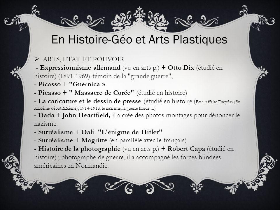En Histoire-Géo et Arts Plastiques