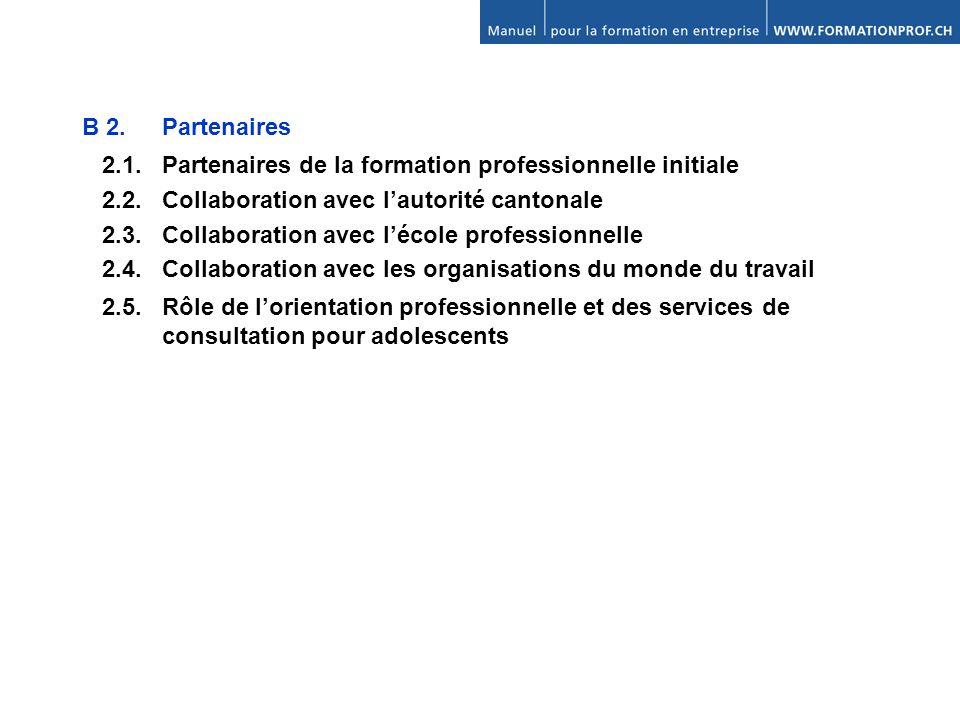 B 2. Partenaires 2.1. Partenaires de la formation professionnelle initiale. 2.2. Collaboration avec l'autorité cantonale.