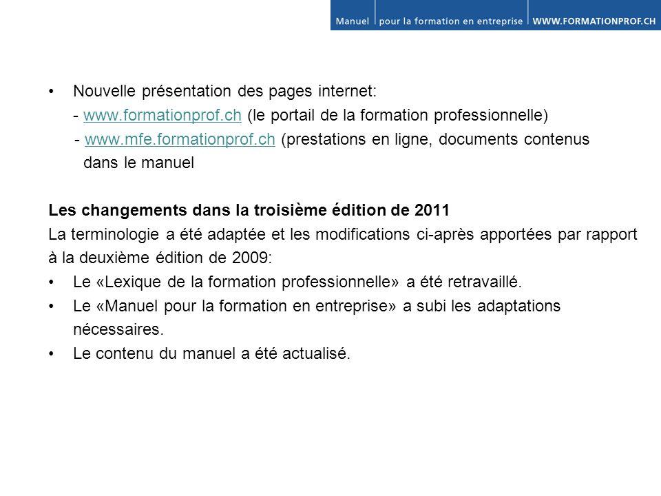 • Nouvelle présentation des pages internet: - www. formationprof