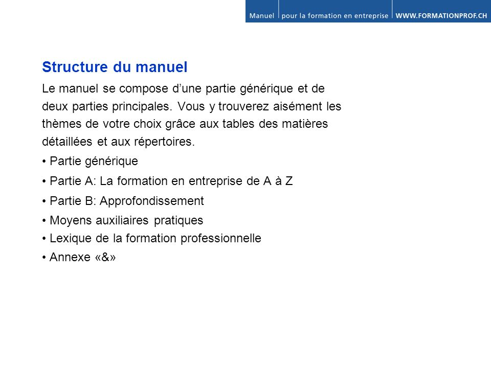 Structure du manuel