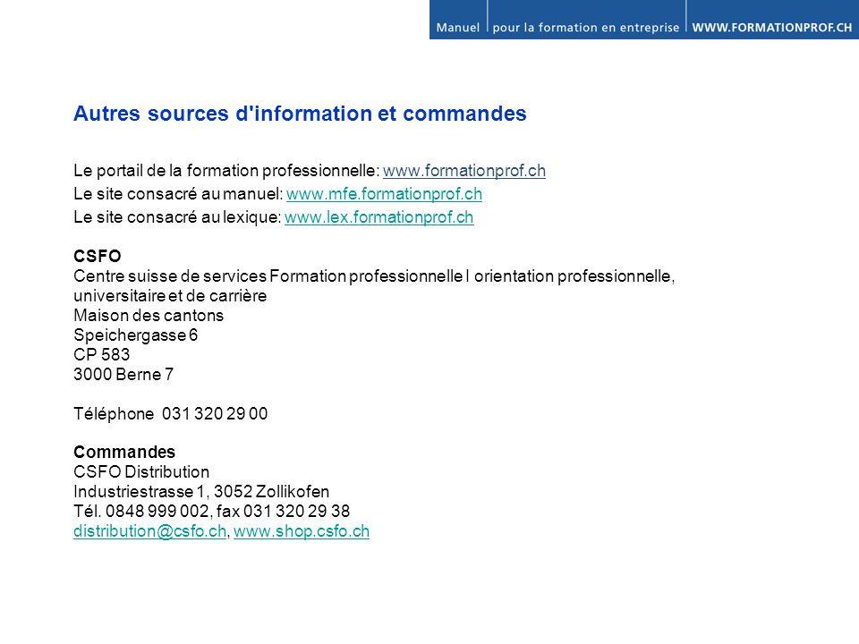 Autres sources d information et commandes
