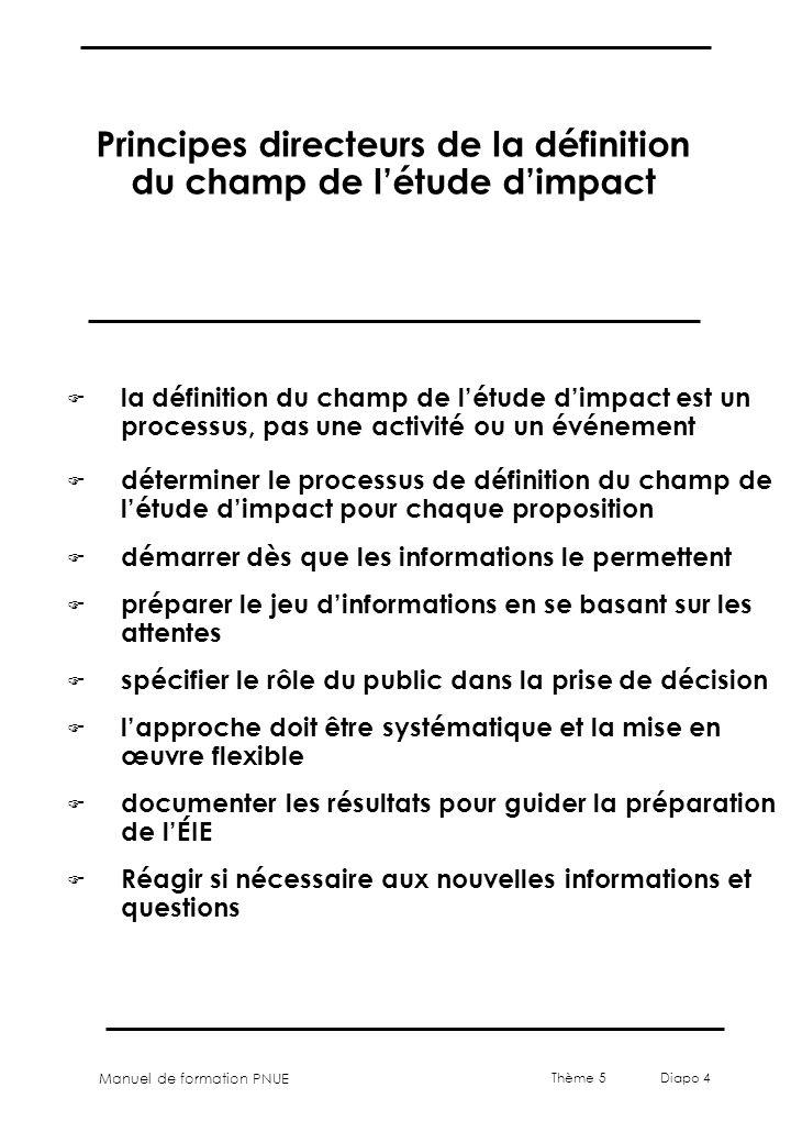Principes directeurs de la définition du champ de l'étude d'impact