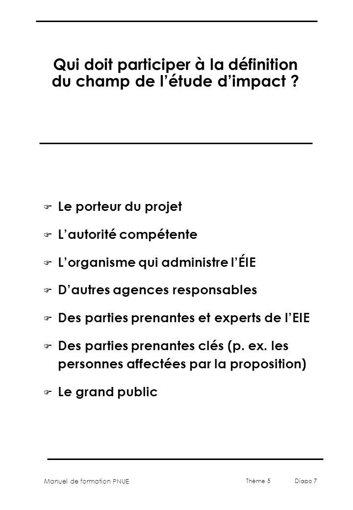 Qui doit participer à la définition du champ de l'étude d'impact