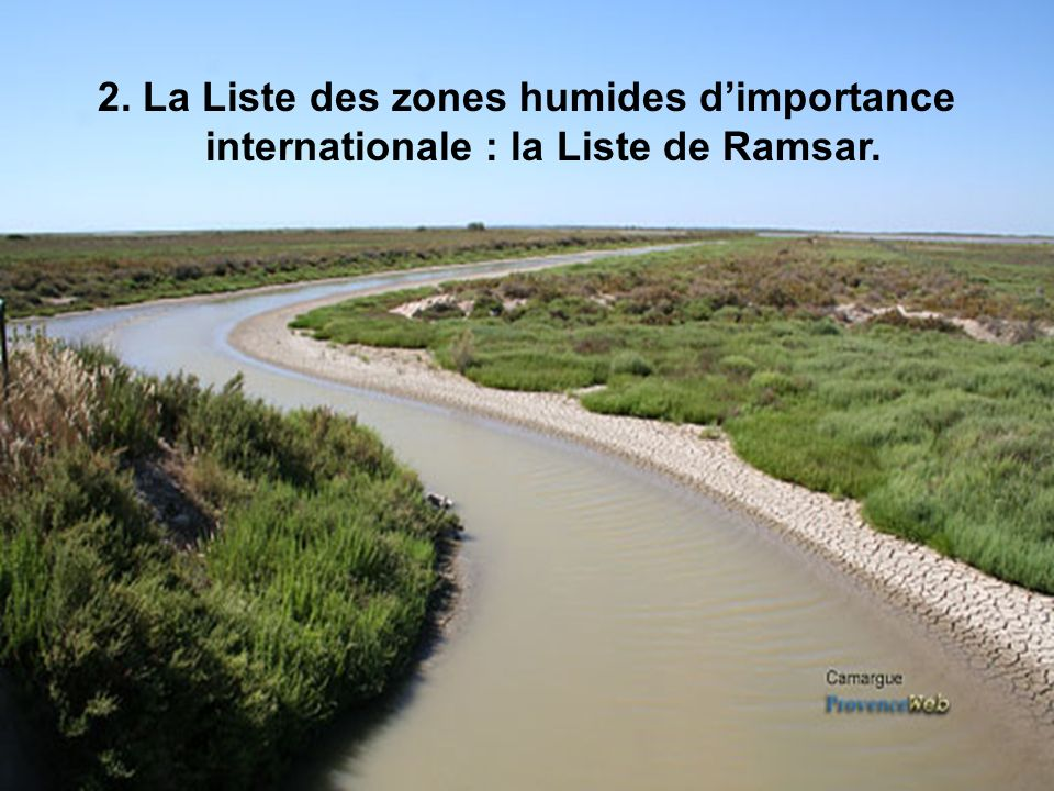 2. La Liste des zones humides d'importance internationale : la Liste de Ramsar.