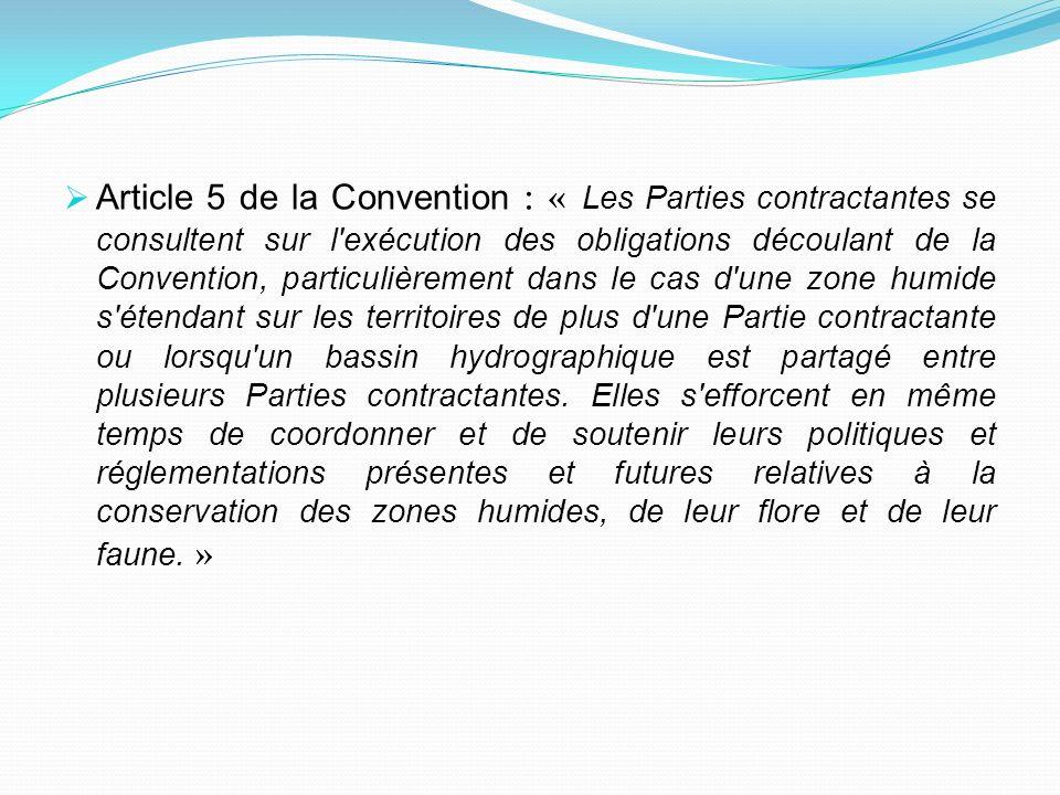 Article 5 de la Convention : « Les Parties contractantes se consultent sur l exécution des obligations découlant de la Convention, particulièrement dans le cas d une zone humide s étendant sur les territoires de plus d une Partie contractante ou lorsqu un bassin hydrographique est partagé entre plusieurs Parties contractantes.