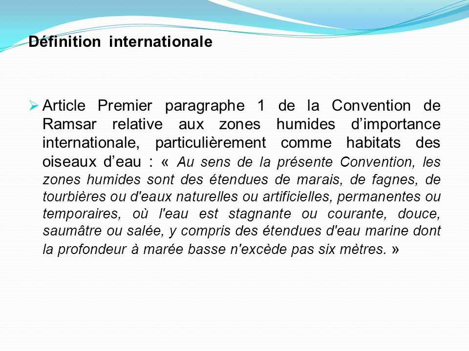 Définition internationale