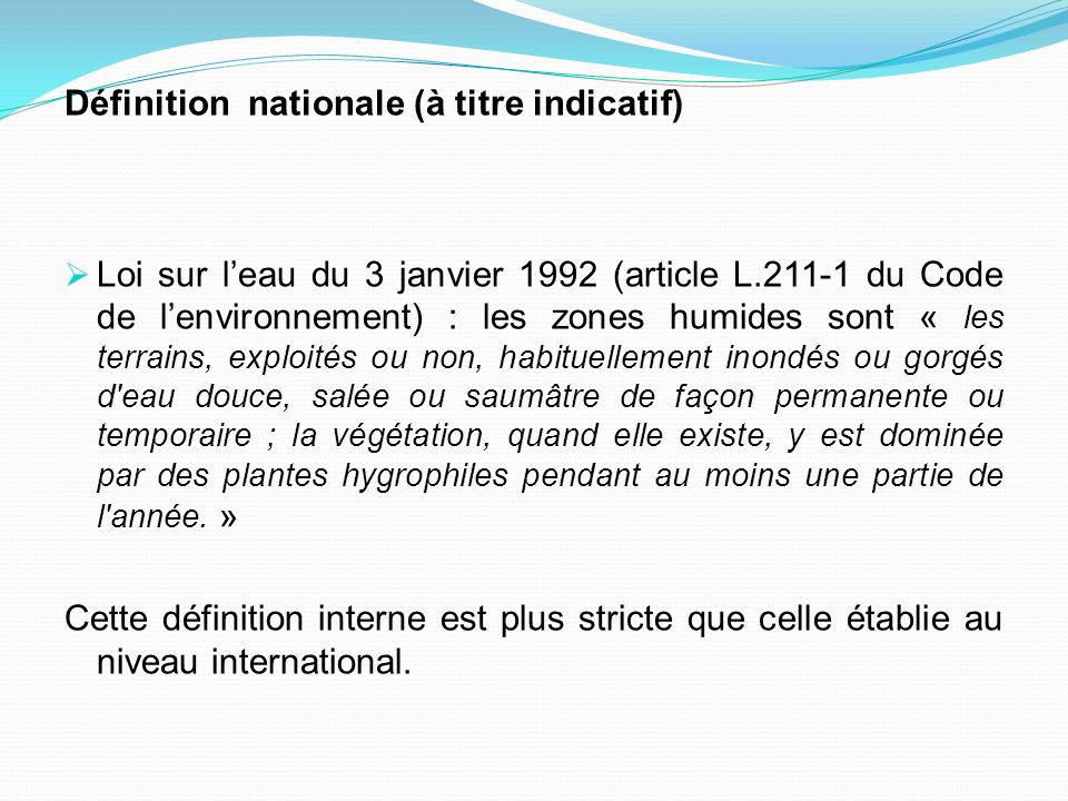 Définition nationale (à titre indicatif)