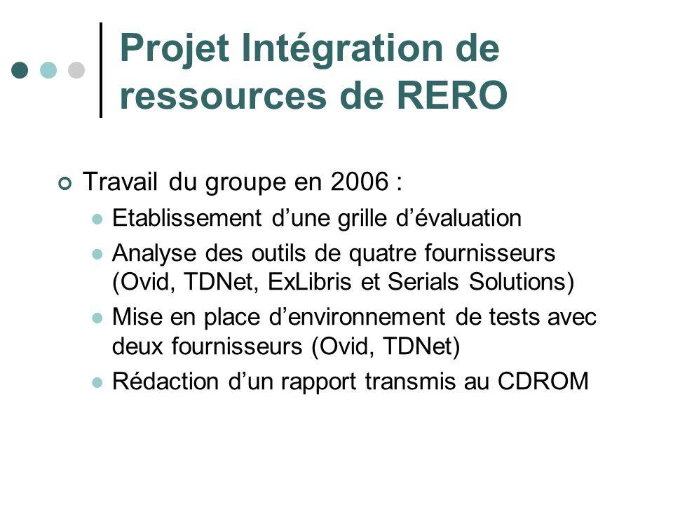 Projet Intégration de ressources de RERO