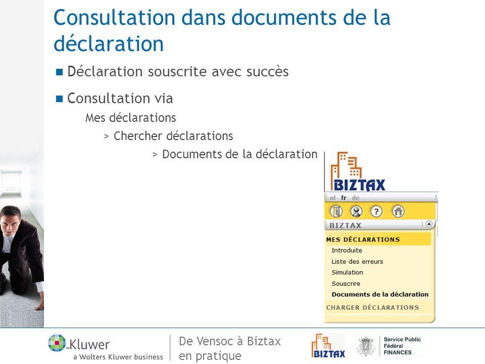 Consultation dans documents de la déclaration