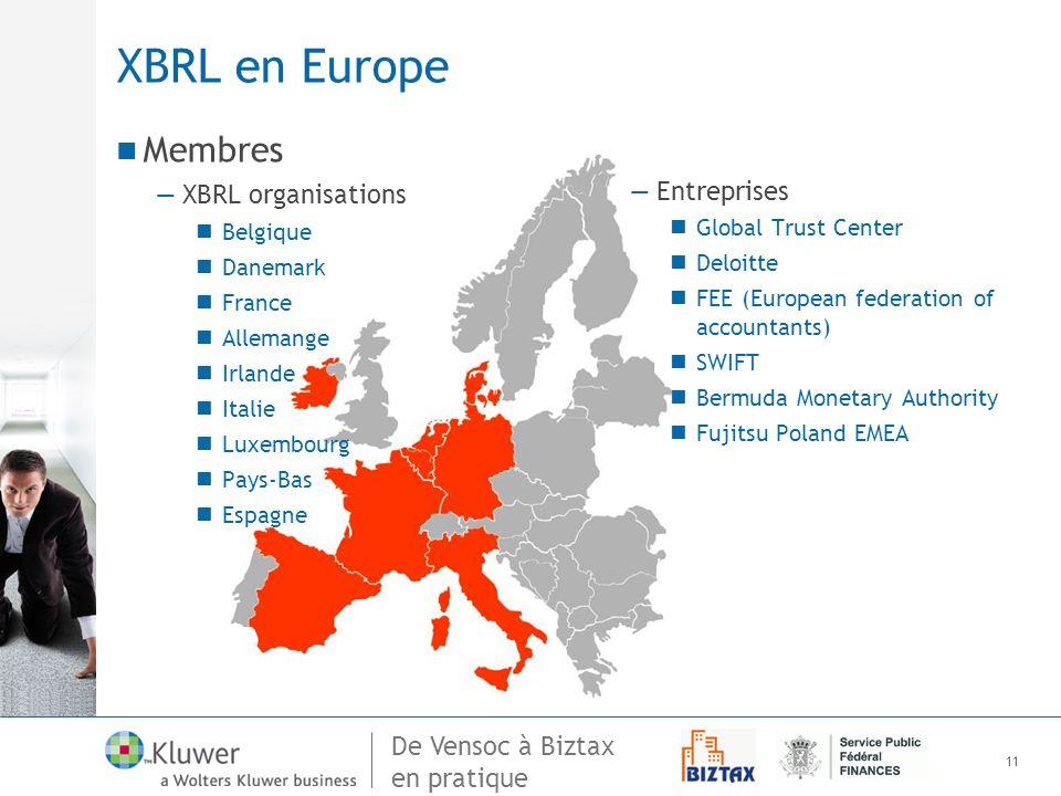 XBRL en Europe Membres XBRL organisations Entreprises Belgique