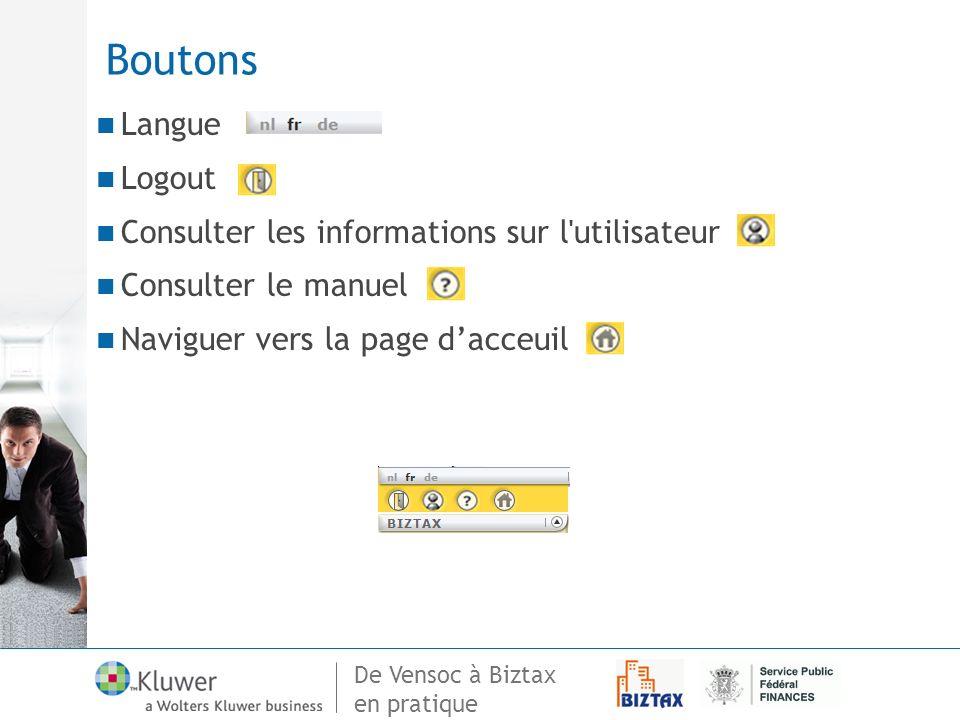 Boutons Langue Logout Consulter les informations sur l utilisateur