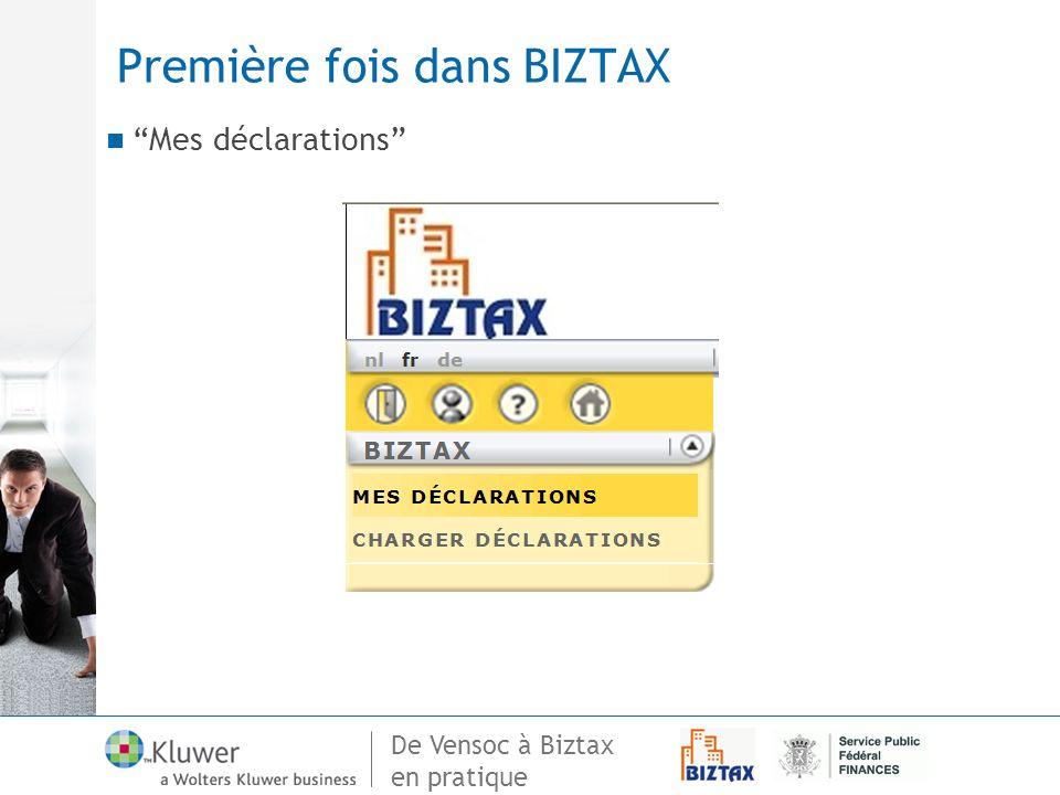 Première fois dans BIZTAX