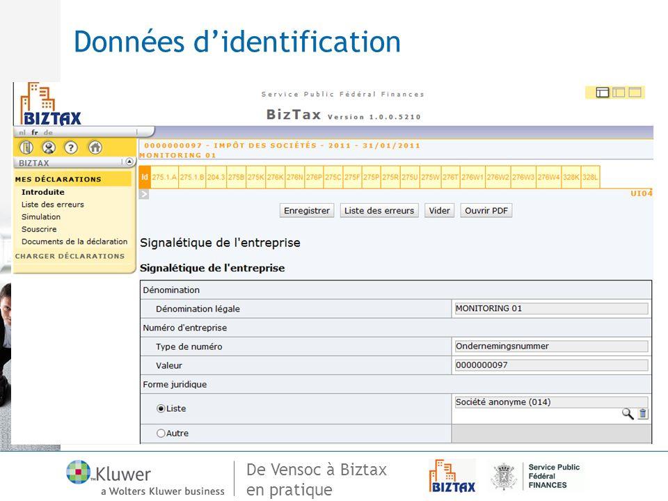 Données d'identification