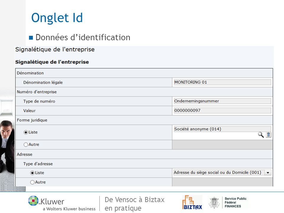 Onglet Id Données d'identification