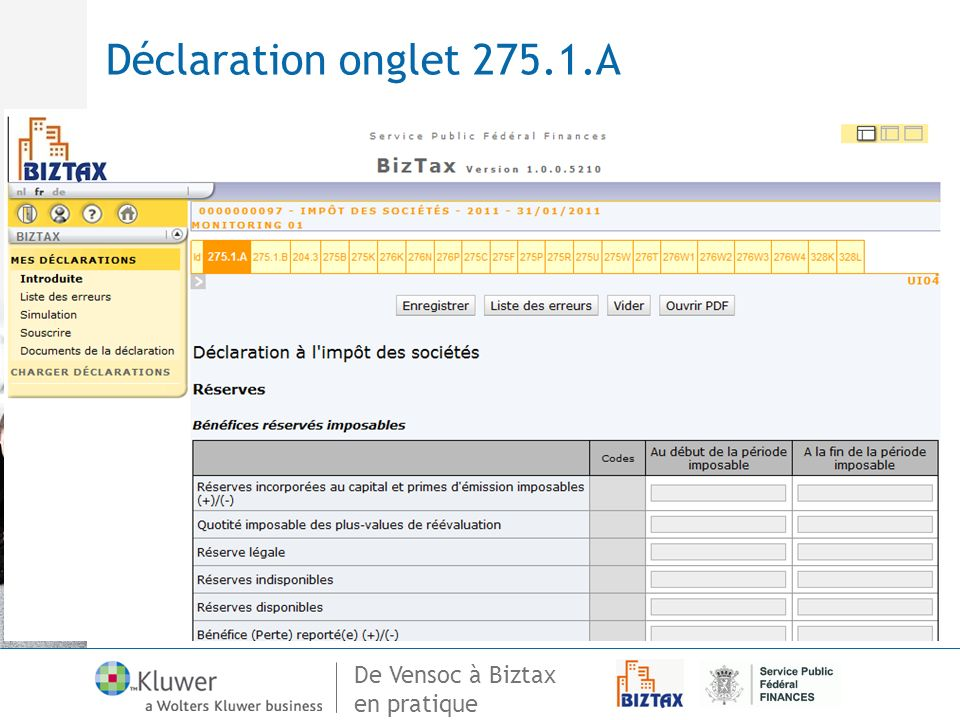 Déclaration onglet 275.1.A