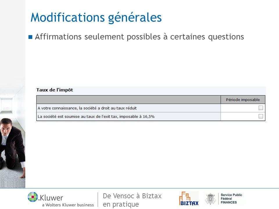 Modifications générales