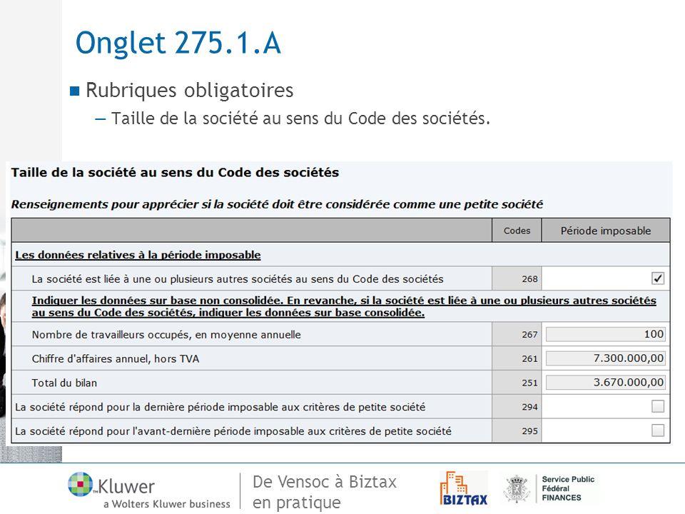 Onglet 275.1.A Rubriques obligatoires